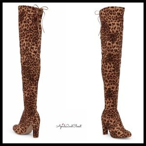 VEGAN SUEDE OVER THE KNEE TALL LEOPARD PRINT BOOTS